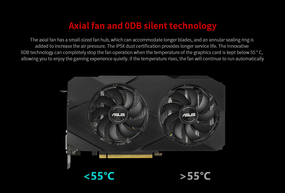 ASUS ROG-STRIX-GeForce RTX 2060 SUPER-O8G-EVO-GAMING Graphics Card Axial fan and 0DB silent technology