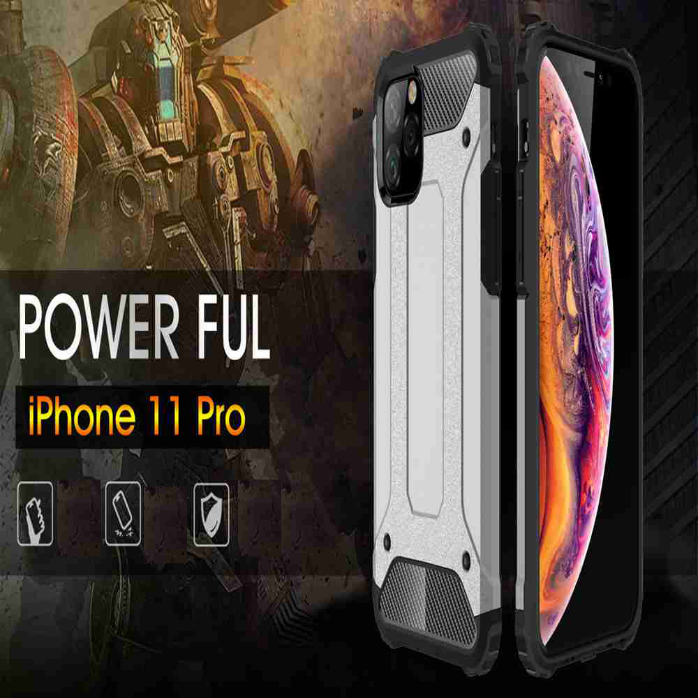 PC+TPU Gold Steel Armor Phone Case for iPhone 11 Pro - Gold