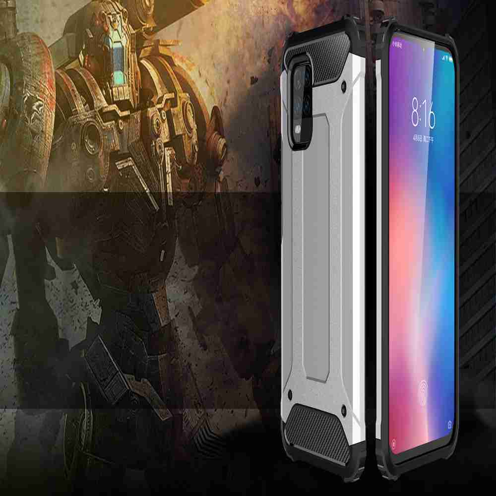 PC+TPU Gold Steel Armor Phone Case for Xiaomi 10 Lite - Platinum