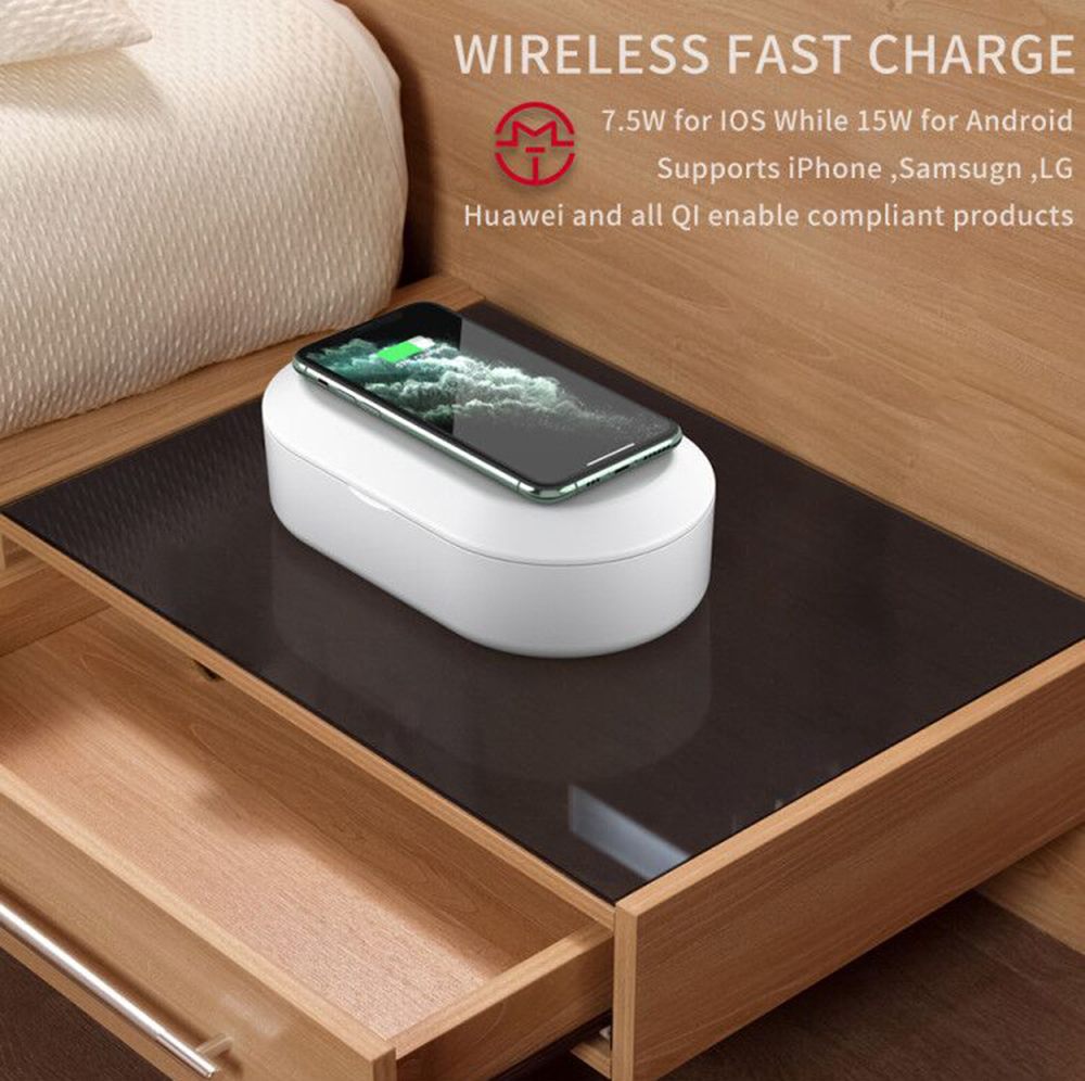 B-09 Wireless Charging UV Sterilizing Disinfection Box with Aromatherapy Diffuser - Milk White