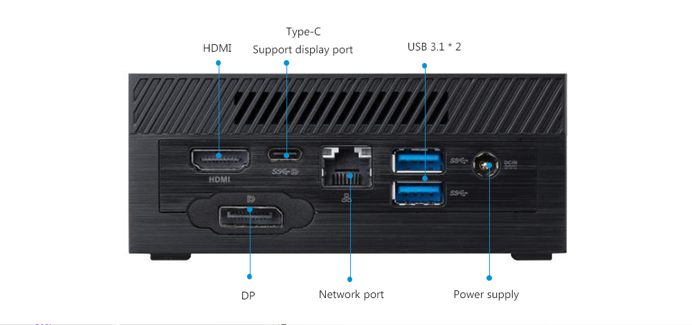 ASUS PN60I3DBZ Portable Desktop Mini PC Rich IO interface and 4USB interface to meet various applications