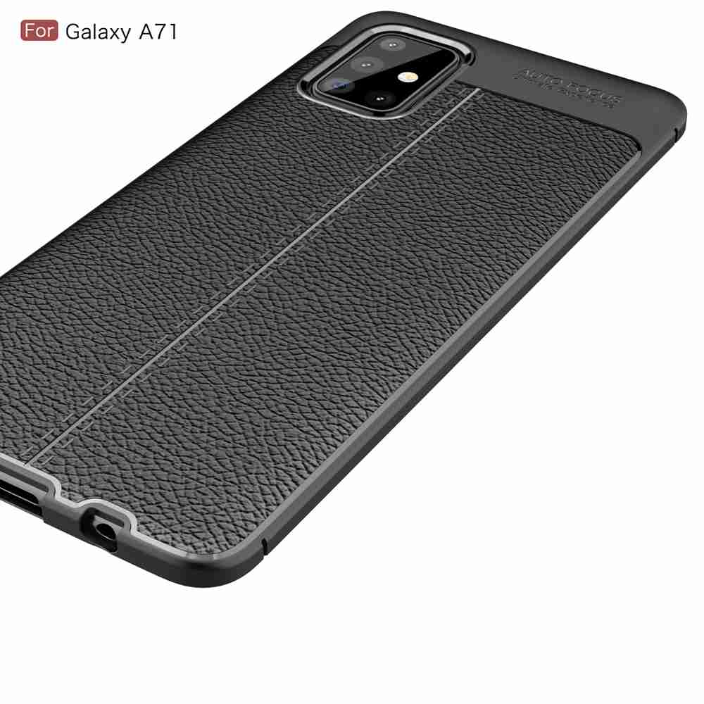 Leather Texture Carbon Fiber Phone Case for Samsung Galaxy A71 - Cadetblue