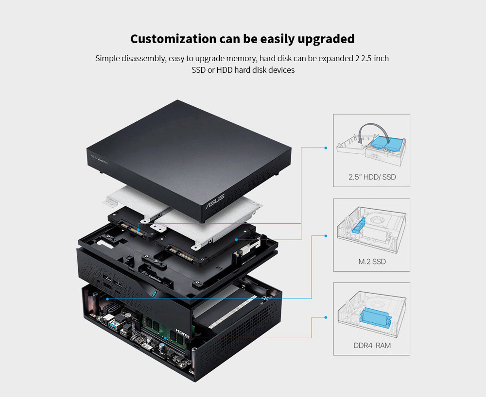ASUS VC66I3EAZ Portable New Desktop Mini PC Customization can be easily upgraded