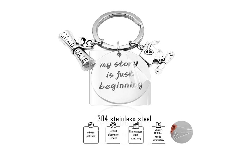 2020 Titanium Steel Key Ring Fashion Keychain Graduation Gift - Silver 2