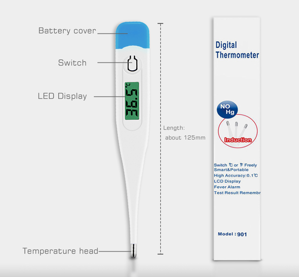 902 Hard Head Electronic Thermometer LED Blacklight Fast Measuring Home Health Care Equipment - Milk White