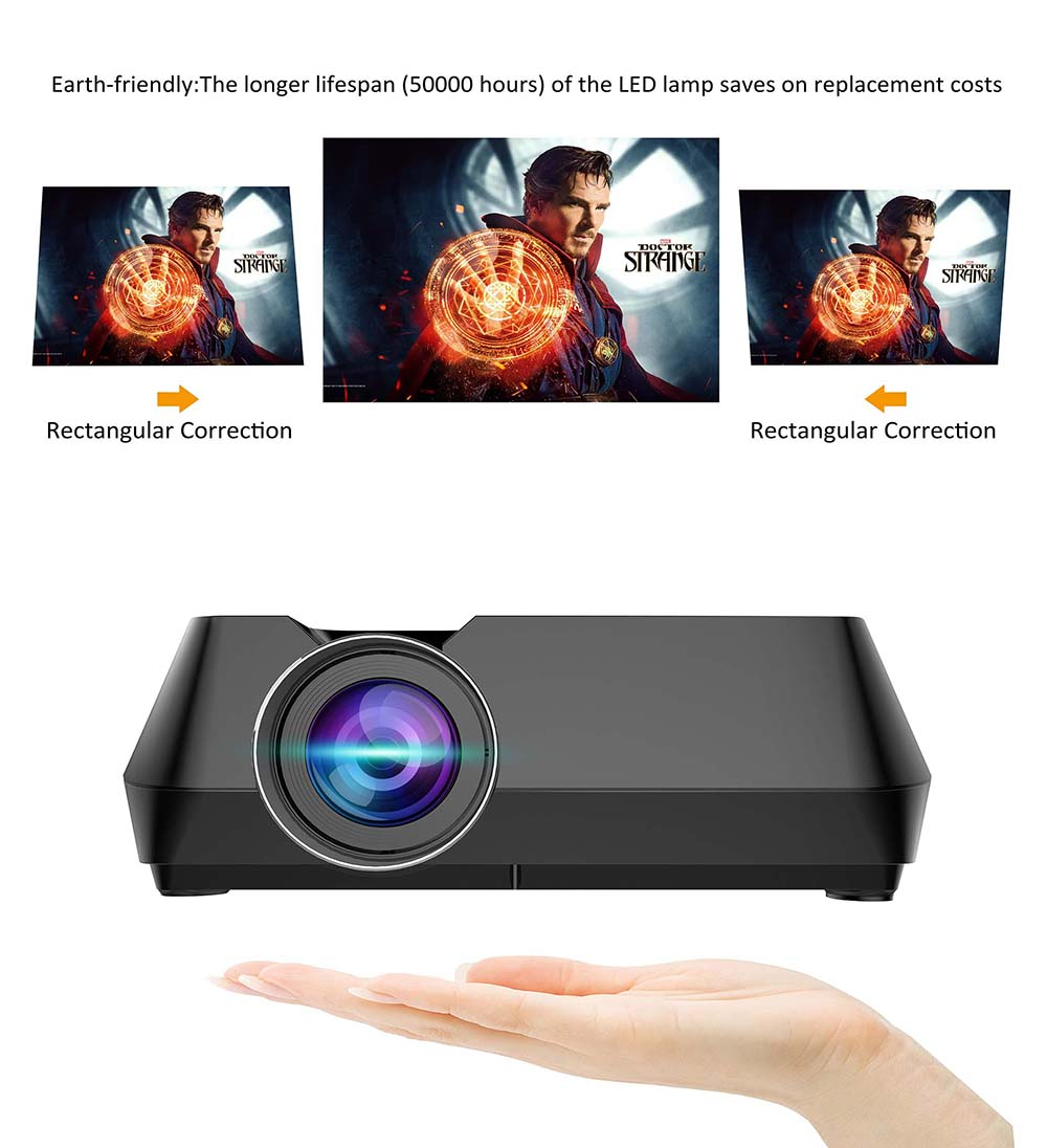 Bilikay GT-S8 800 x 480 Portable Multimedia LCD Projector with HDMI USB AV VGA supports 720P TF interface for Home Theater - White