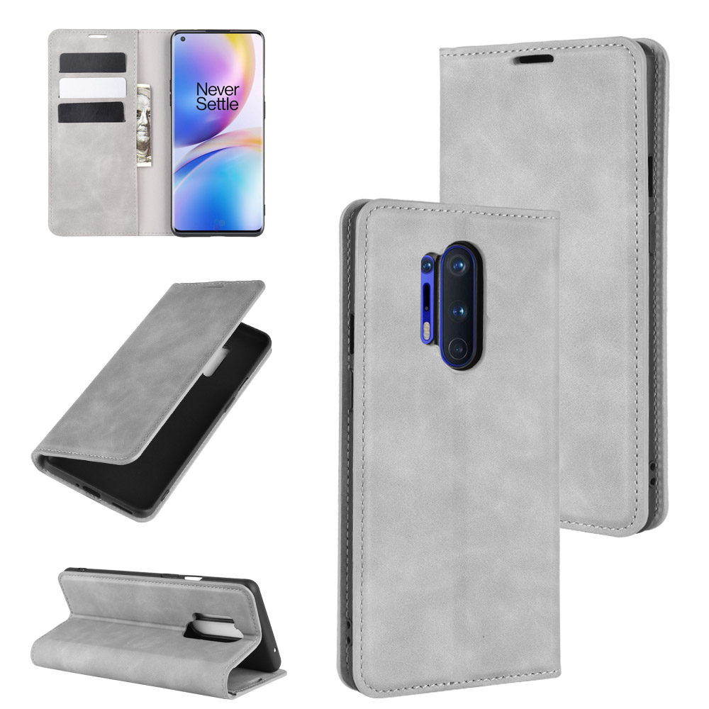 CHUMDIY PU Leather Full Body Phone Case with Stand for Oneplus 8 Pro - Dark Gray