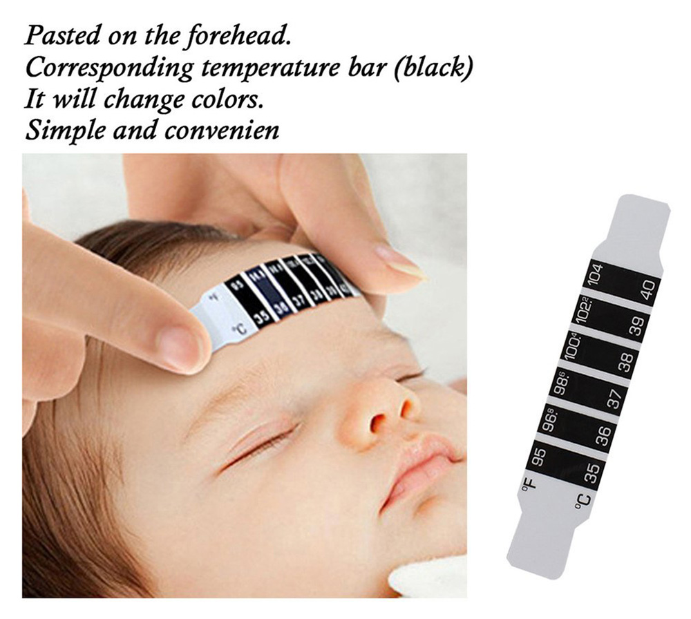 Infant Baby Kids Forehead Strip Head Temperature Test Simple Color Changing Thermometer Sticker - Black 5pcs