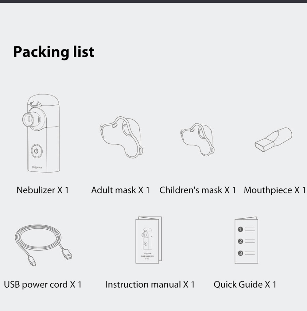 Andon VP-M3A Mute Micro-mesh Nebulizer Packing list