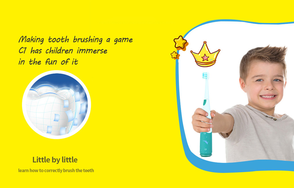 Rooman C1 Children Electric Toothbrush Little by little learn how to correctly brush the teeth