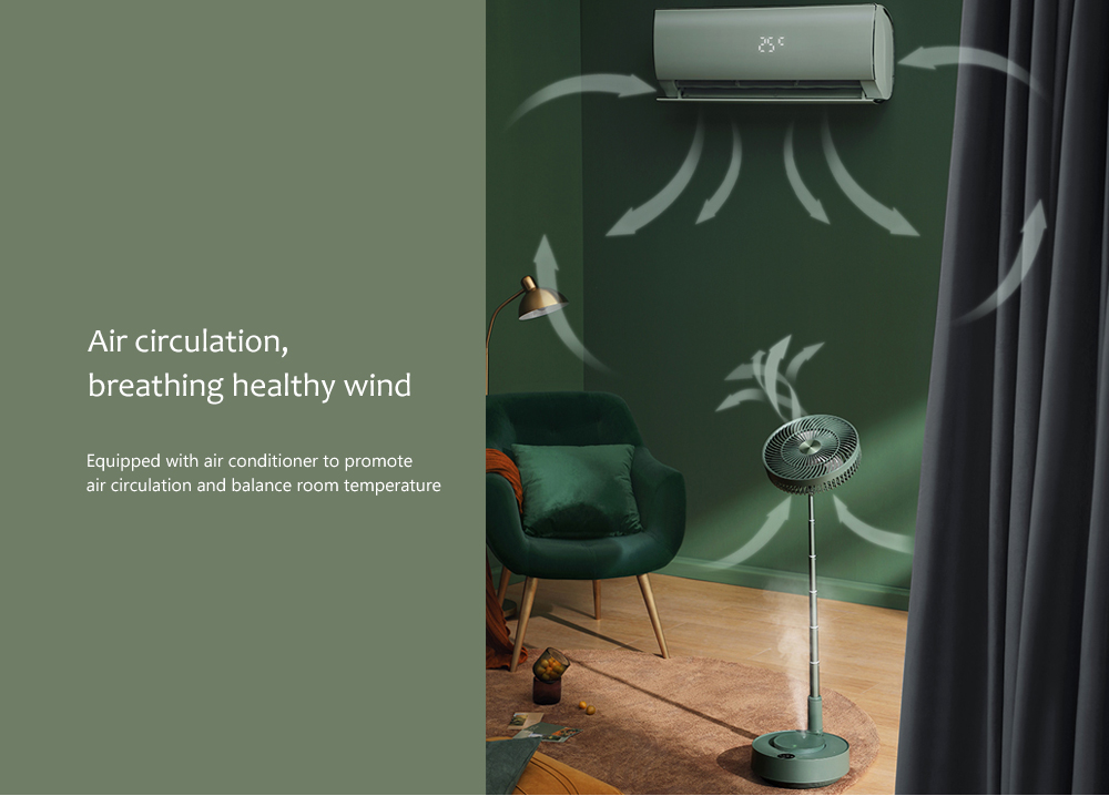 Edon E908 Folding Electronic Stand Fan Air circulation, breathing healthy wind