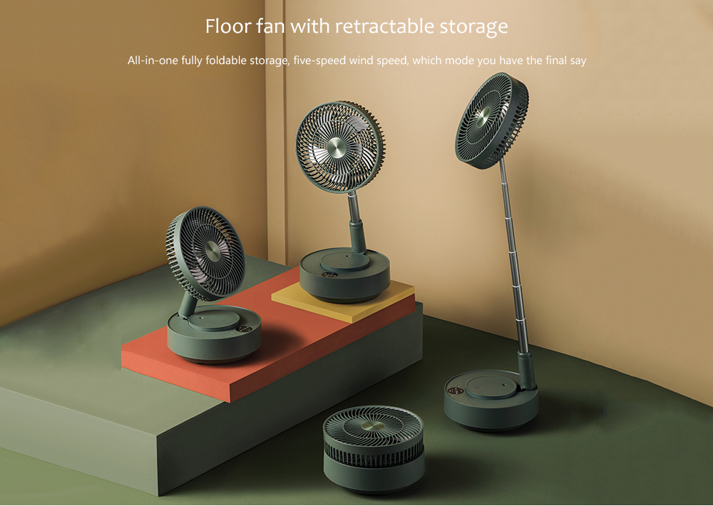 Edon E908 Folding Electronic Stand Fan Floor fan with retractable storage