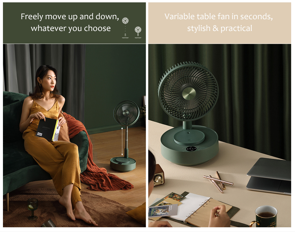 Edon E908 Folding Electronic Stand Fan Freely move up and down
