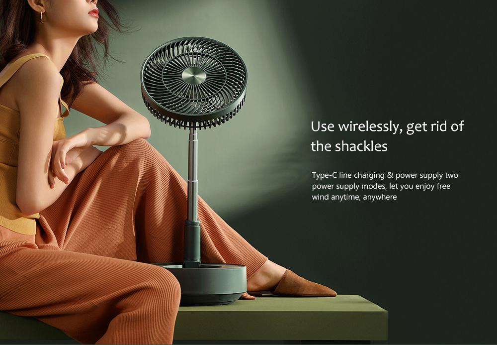 Edon E908 Folding Electronic Stand Fan Use wirelessly, get rid of the shackles