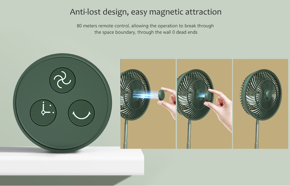 Edon E908 Folding Electronic Stand Fan Anti-lost design, easy magnetic attraction
