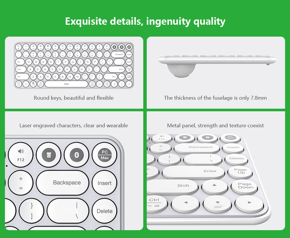 MIIIW Dual Mode Bluetooth Mini Keyboard 85 Keys Bluetooth USB Connection Multi-system Handover 8 Degree Angle from Xiaomi Youpin - White