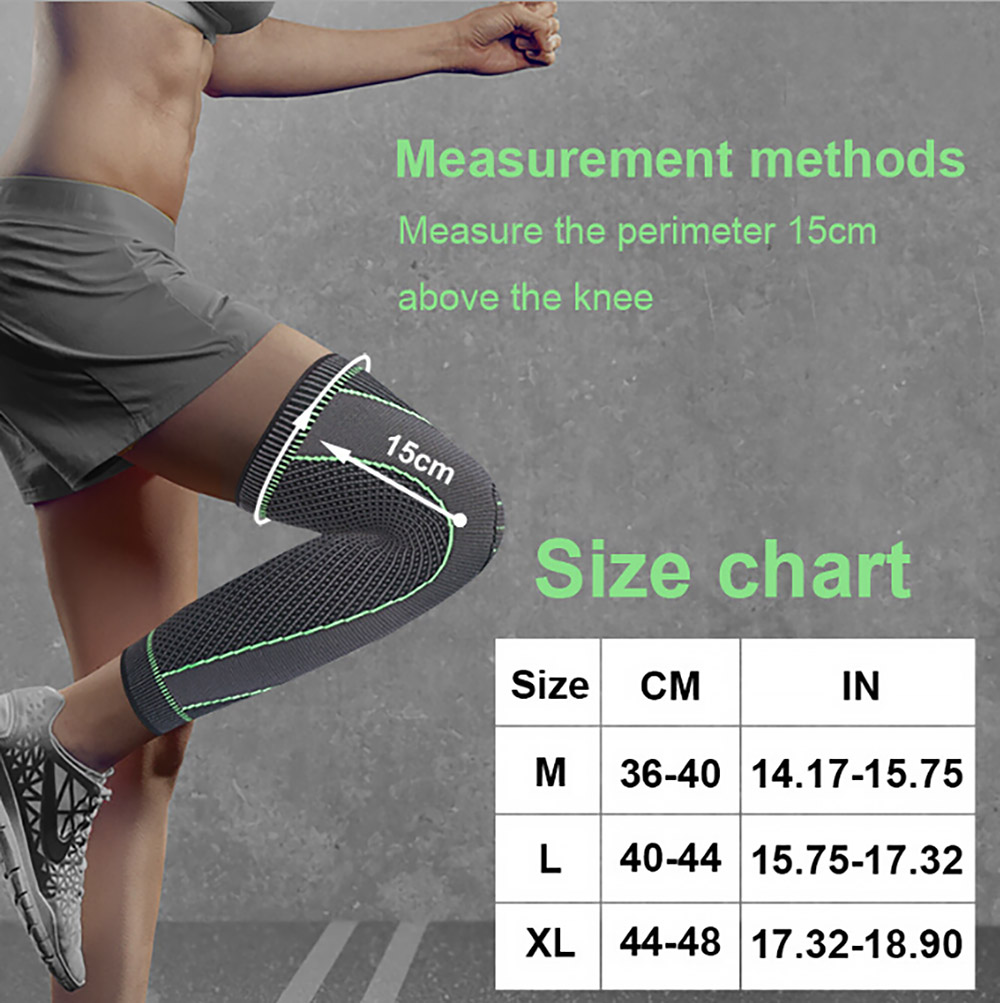 Non-Slip Nylon Knitted Sports Knee Pad Men and Women Outdoor Riding Running Hiking Basketball Protective Gear Squat Leggings Kneepad - Gray XL