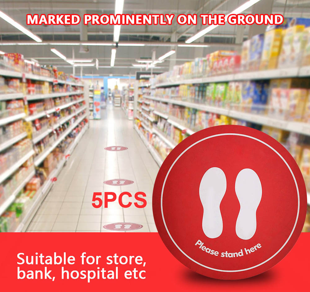 Ground Floor Crowd Isolation Labeling - Red 1pc