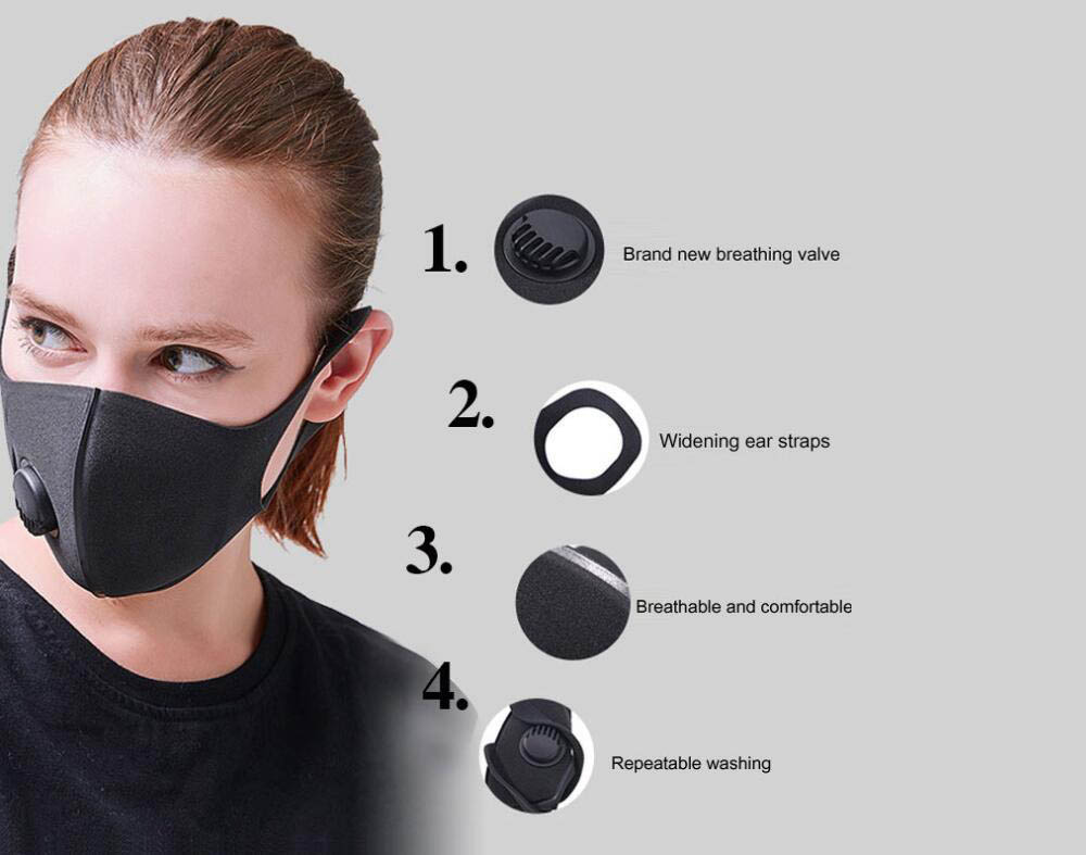 SYJF 136 2 Ply Polyester Cotton Adult Mask with Breathing Valve Dustproof Anti Droplets Anti Particulate Anti-fog Face Masks 5PCS - White