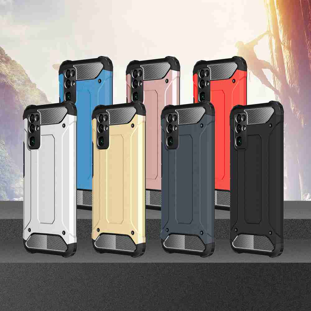 PC+TPU Gold Steel Armor Phone Case for Huawei Honor 30 - Platinum