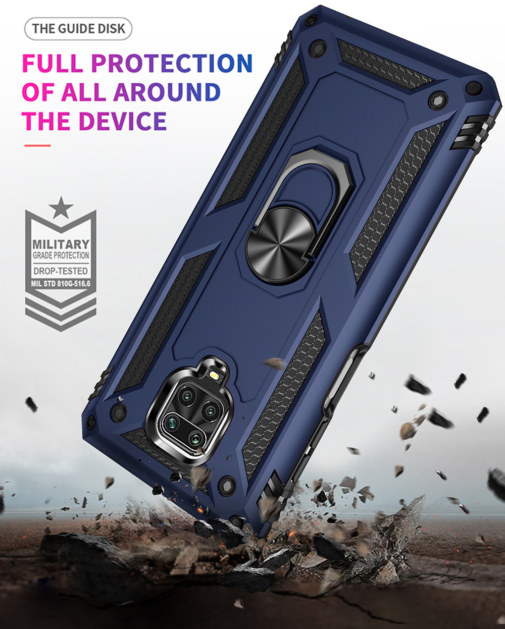Ring Buckle Kickstand Armor Phone Case Cover for Xiaomi Redmi Note 9s - Blue