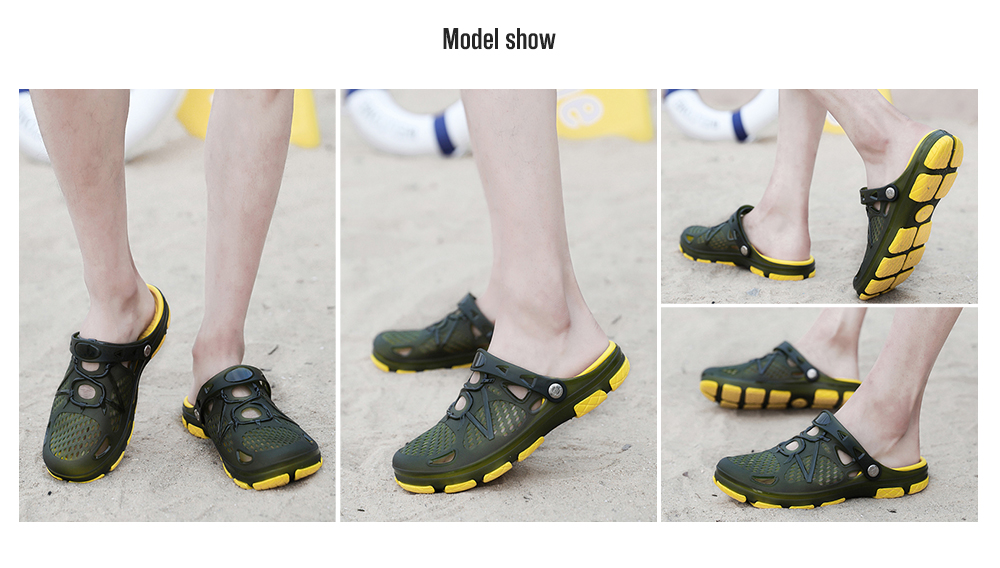 AILADUN Men Telly Translucent Casual Hole Slippers model show
