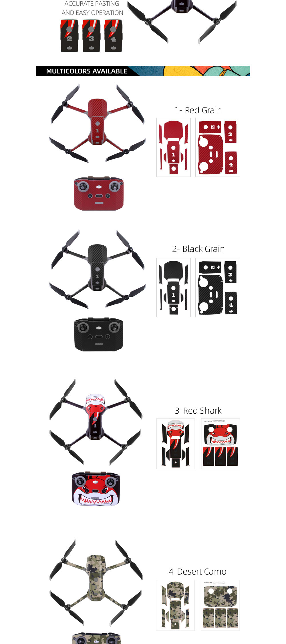 Sunnylife Waterproof Anti-scratch Sticker Full Body Remote Control Protective Film for DJI Mavic Air 2 - Multi-F