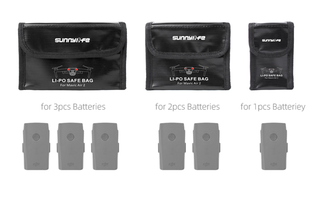 Sunnylife Lithium Battery Explosion Proof Storage Bag for UAV DJI Mavic Air 2 - Multi-A