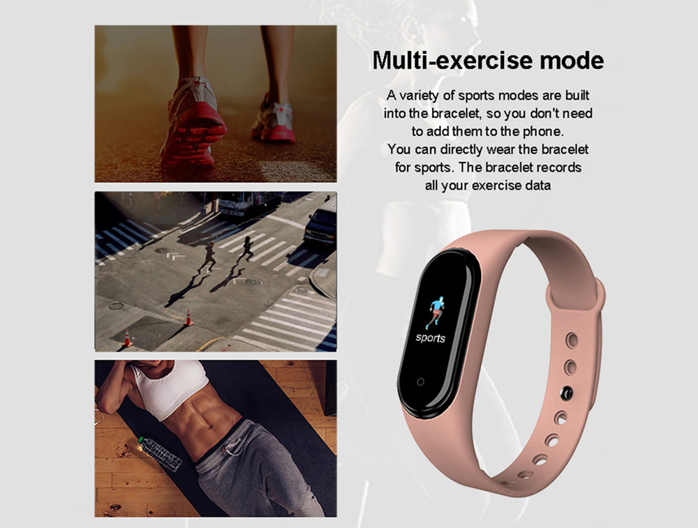 M5 Sports Smart Bracelet Fitness Tracker Bluetooth Phone Control Music Playback Smart Wristband - Black