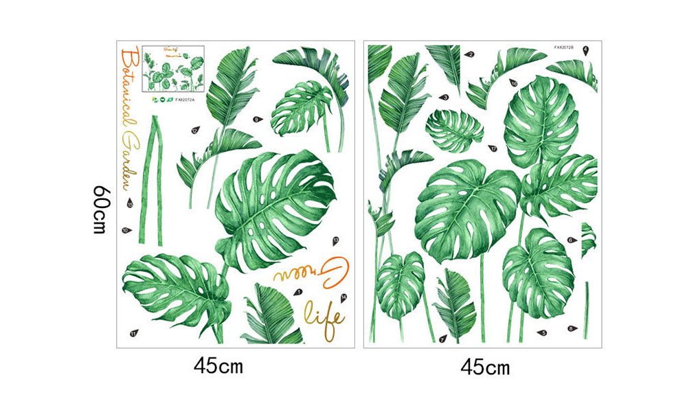 DIY Plant Leaves Pattern Wall Sticker PVC Mural Waterproof Removable Decorative Painting Wallpaper - Clover Green 45 x 60cm x 2pcs