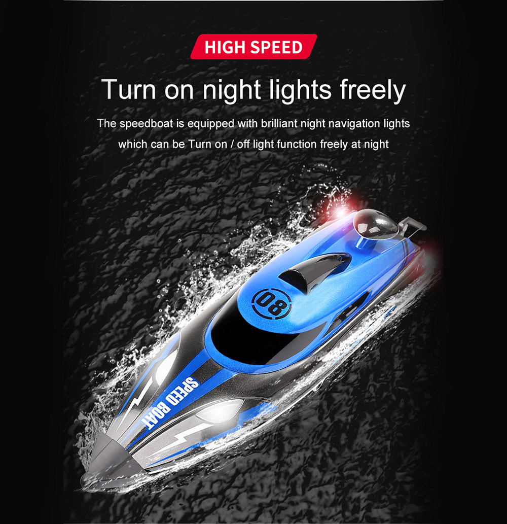 HJ808 2.4G High Speed Sailing Boats Remote Control 25KM / H - Red 2 Batteries