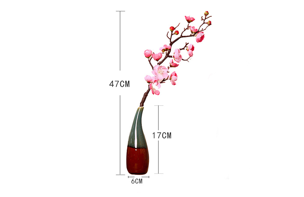 Artificial Plum Flowers + Vase Set Furnishing Flower Arrangement for Wedding Home Party Restaurant Decoration - Pink
