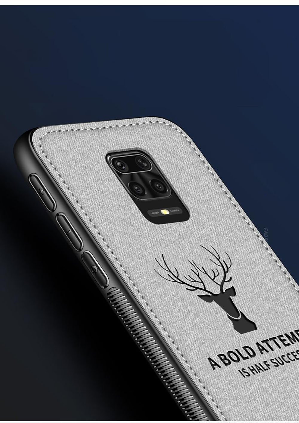 Luxury Deer Cloth Fabric Soft TPU Phone Case for Xiaomi Redmi Note 9 Pro Max - Gray