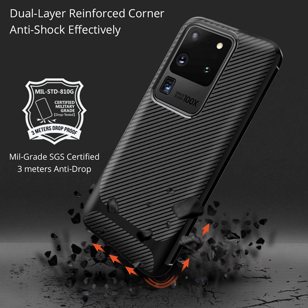 ENKAY ENK-PC015 Solid Color Carbon Fiber TPU Soft Shell Anti-fall Phone Cover Case for Samsung Galaxy S20 Ultra - Black