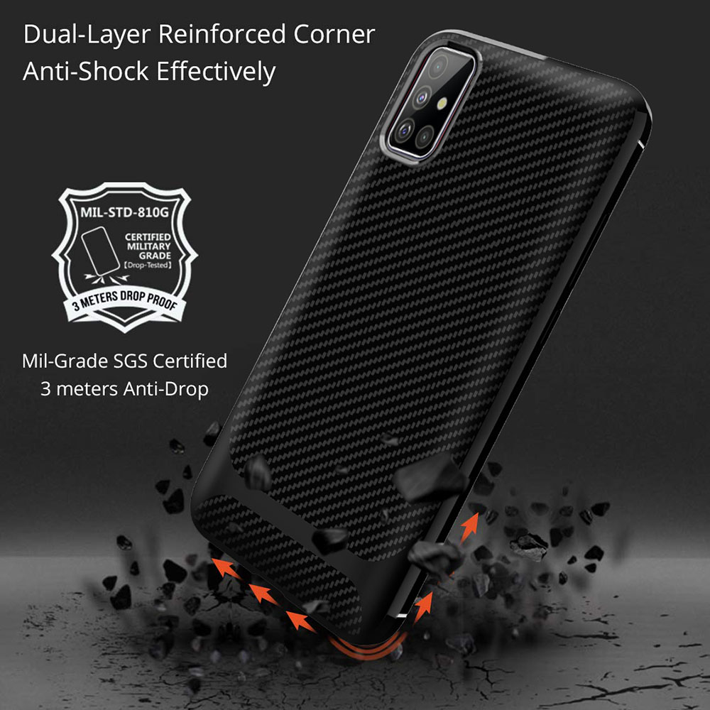 ENKAY ENK-PC016 Solid Color Carbon Fiber TPU Soft Shell Anti-fall Phone Cover Case for Samsung Galaxy A51 - Red