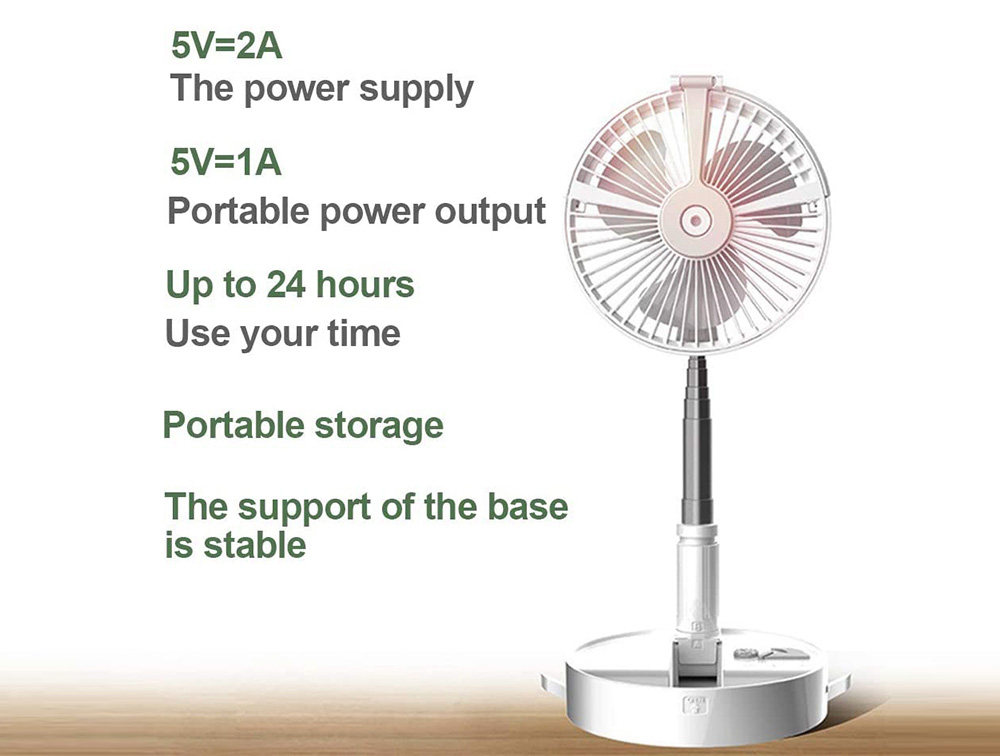 P9S Foldable Electronic Fan for Office Desktop Outdoor Retractable USB Charging with Remote Control Spray Humidification Night Light - White