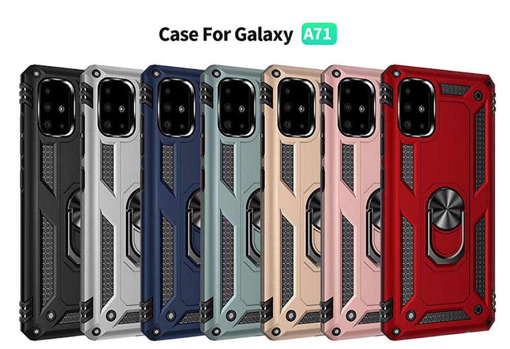 Ring Buckle Kickstand Armor Phone Case for Samsung Galaxy A71 - Light Green
