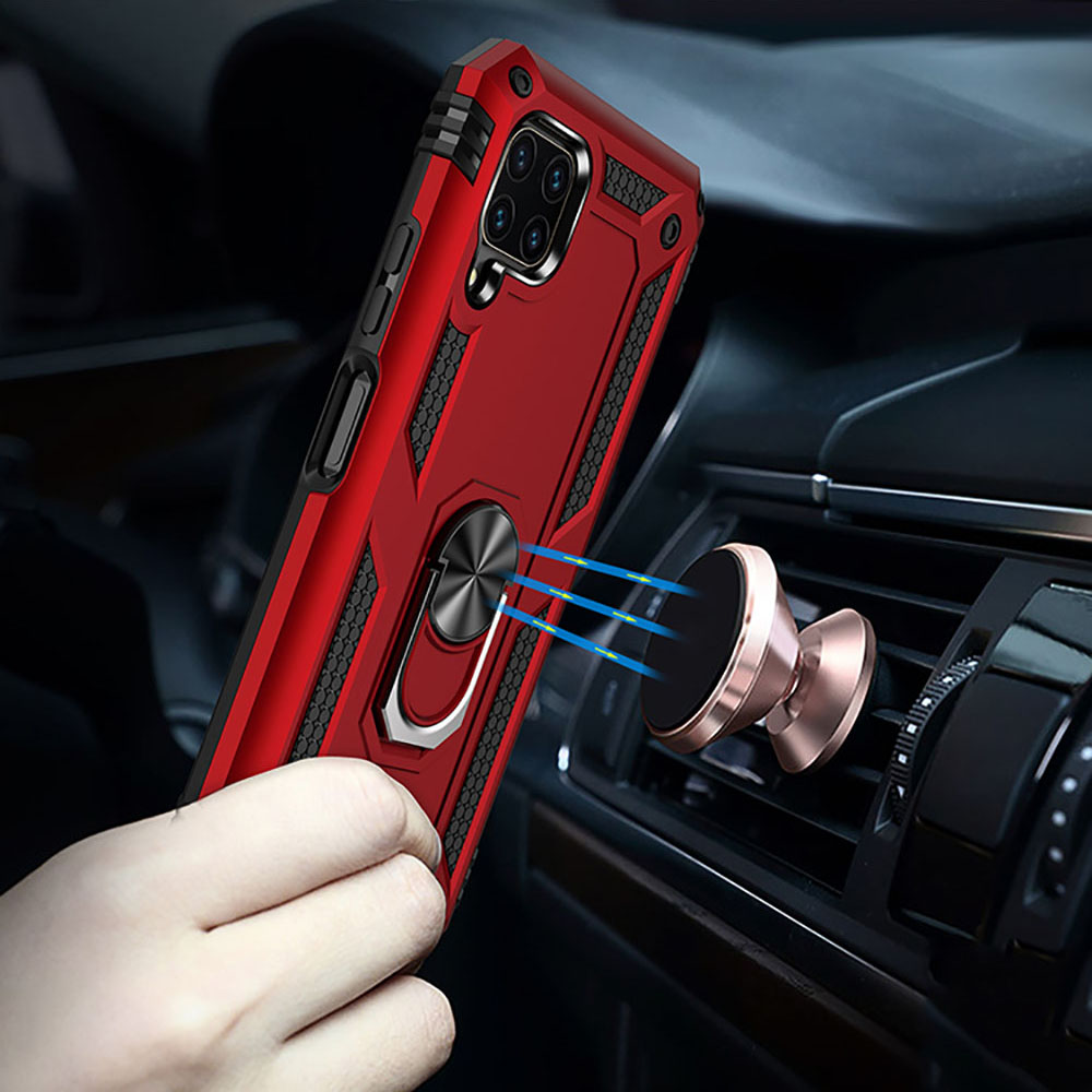 Ring Buckle Kickstand Armor Phone Case for Huawei P40 Lite - Red