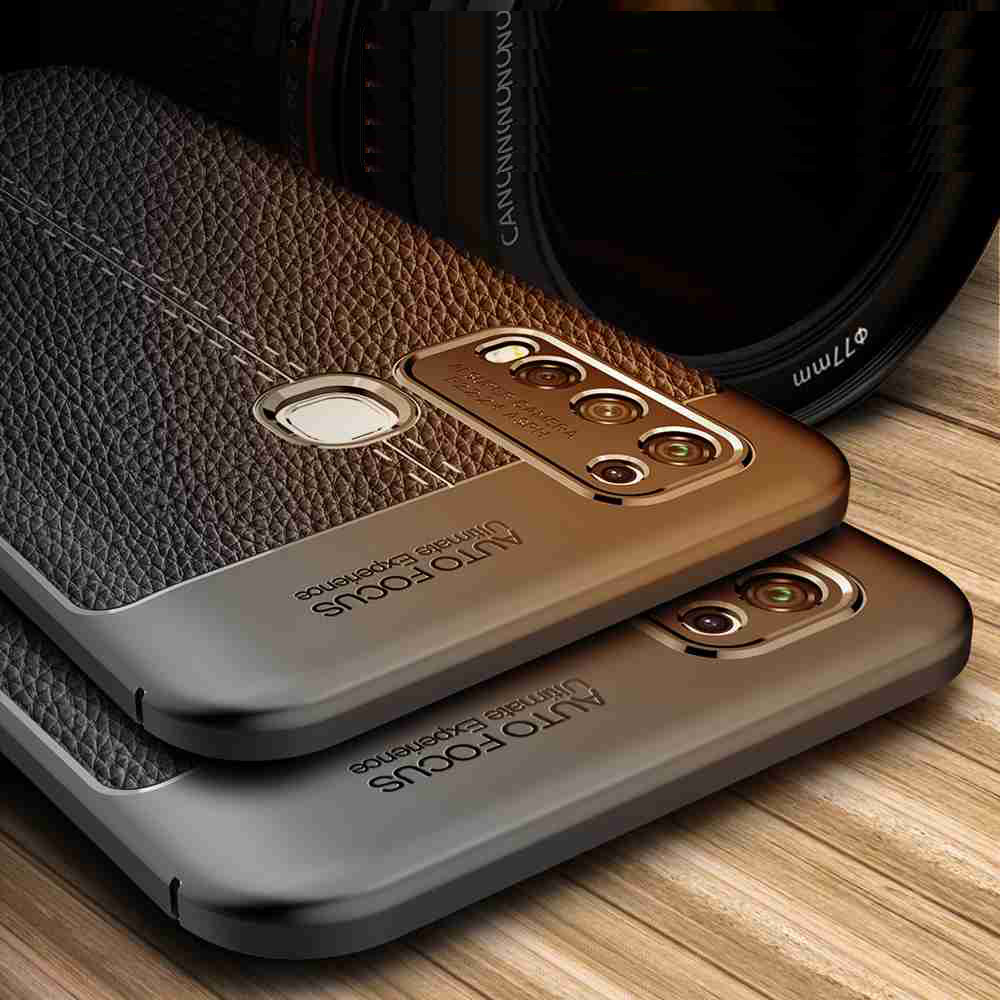 Leather Texture Carbon Fiber Phone Case for Vivo Y50 - Rosso Red