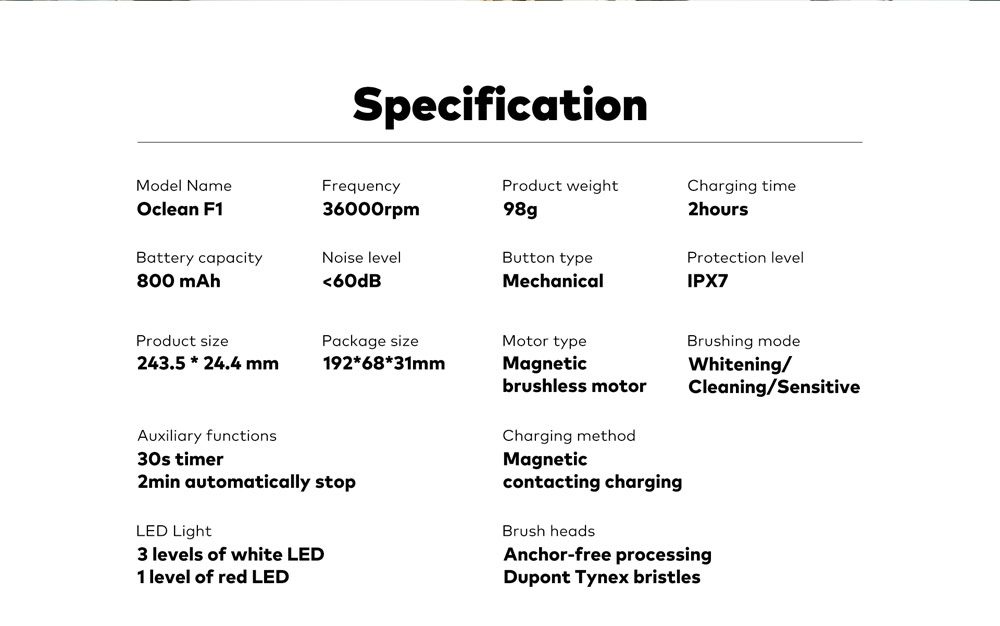 Oclean F1 Sonic Electric Toothbrush Specification