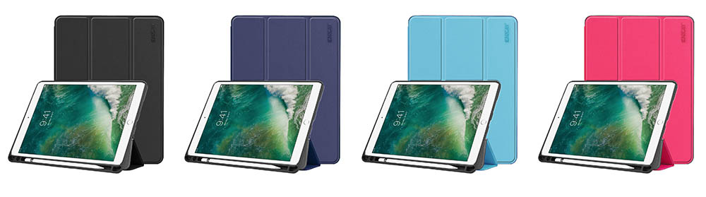 ENKAY Tri-fold Tablet Cover Case with Pen Slot Holder for iPad Air 10.5 inch 2019 / iPad Pro 10.5 inch 2017 - Deep Blue