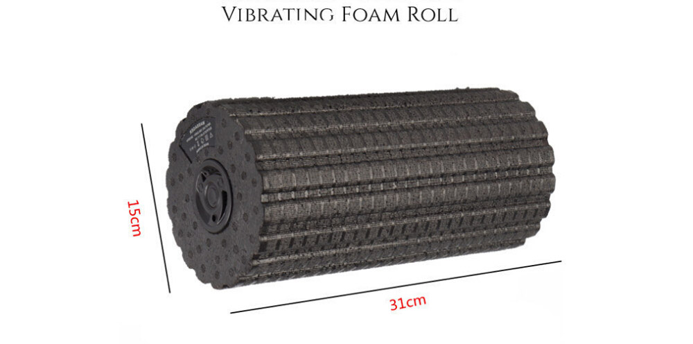 Yoga Fitness Foam Roller Electric 4-Speed Vibrating for Muscle Massage and Deep Tissue Trigger Roll Stretch Tool Exercise Equipment - Blue