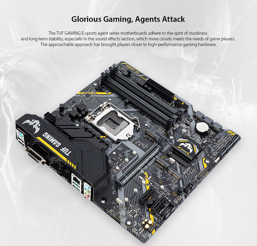 ASUS TUF B360M-PLUS GAMING S Gaming Motherboard Glorious Gaming, Agents Attack