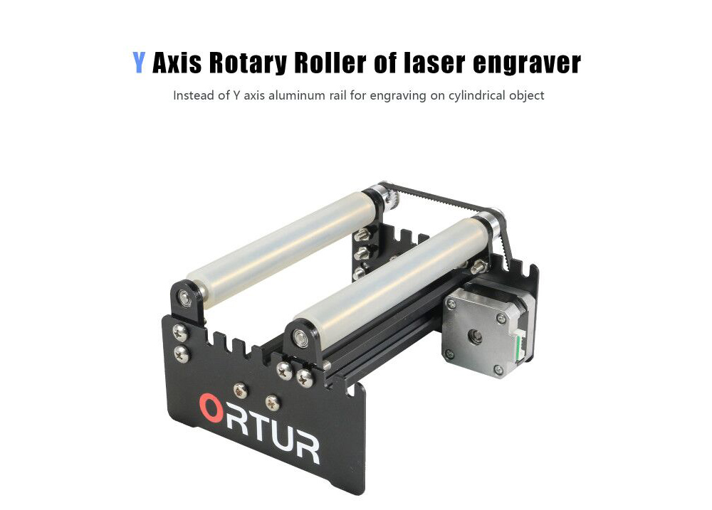 ORTUR Laser Engraver Y-axis Rotary Roller Engraving Module for Engraving Cylindrical Objects Cans - Black