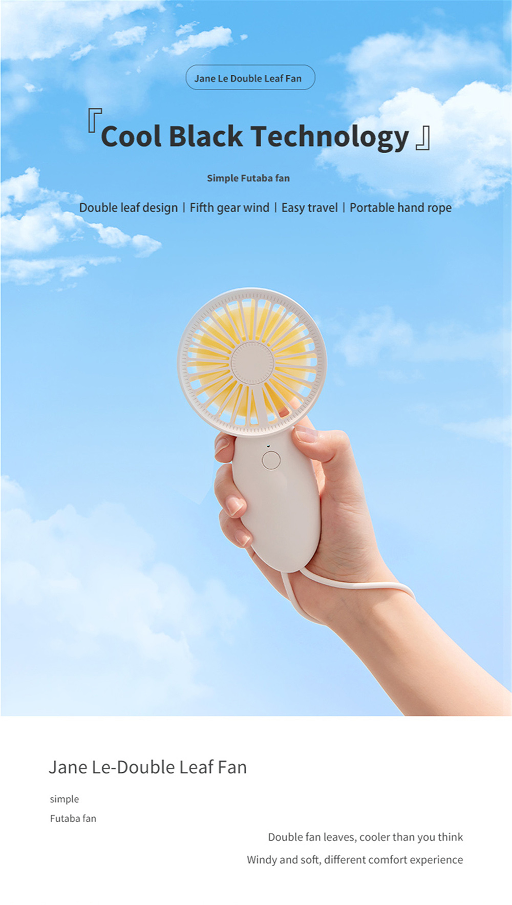 Portable Mini Handheld 5-speed High-power USB Electronic Fan with Lanyard - Pale Blue Lily