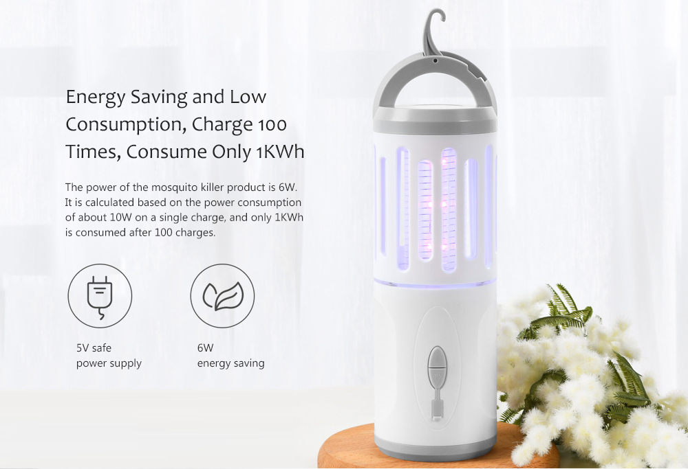 USB Charging Anti-mosquito Lamp Energy Saving and Low Consumption, Charge 100 Times, Consume Only 1KWh