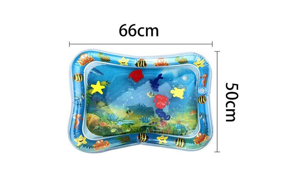 Baby Inflatable Water Cushion Gas-filled PVC Pad Sea World Pattern Crawling Air-filled Toy - Multi