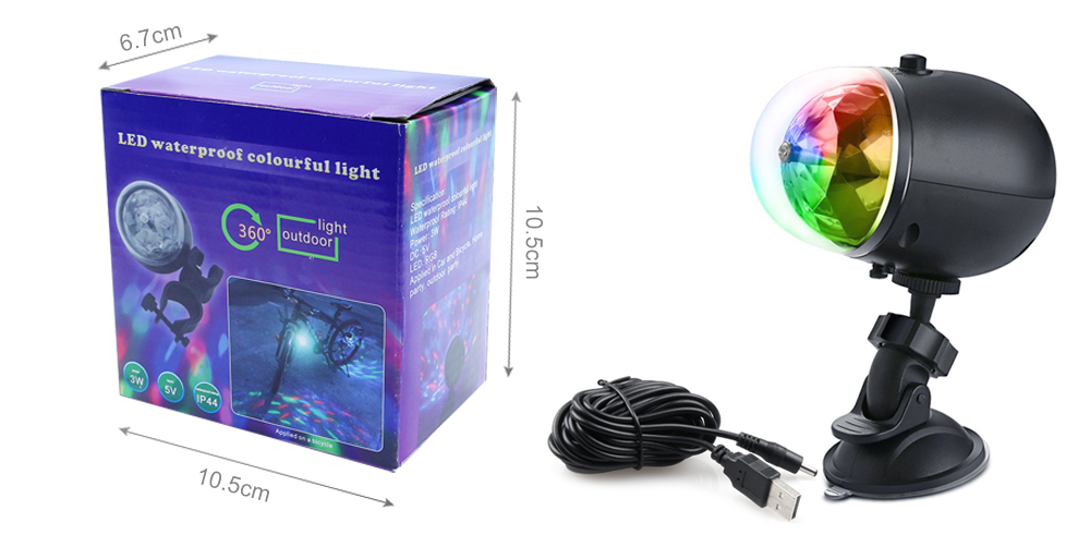 W168 Outdoor Recreational Bicycle Rotating LED Crystal Ball USB Charging Stage Lights Flashing Colorful Three-color LED Light - Black Car Base