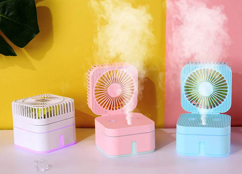 Cube Model 3-in-1 USB Desktop Electric Fan with Humidifier Night Light Function for Home Office 250ml - White