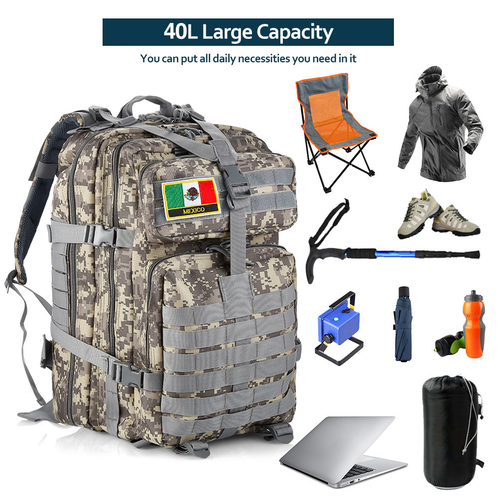 40L Tactical Backpack Oxford Cloth Waterproof Shoulder Bag - ACU Camouflage